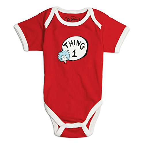 Bumkins Dr. Seuss by Bumkins Classic Short Sleeve Bodysuit-Thing 1, 6 Months (Cat In The Hat Thing 1)
