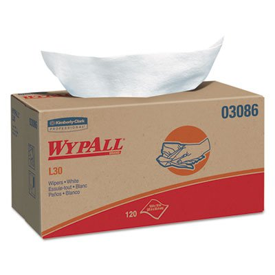 KIMBERLYCLARK 3086 WYPALL L30 Wipers, 10 x 9 4/5, White, 120/POP-UP Box, 10 Boxes/Carton ()