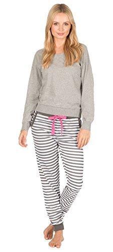Best Deals Direct Mujer De Algodón Pijama Ropa de descanso MANGA LARGA - Raya Gris,