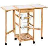 Giantex Portable Rolling Drop Leaf Kitchen Storage Tile Top Wooden Drawers Trolley Cart