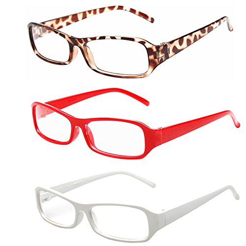 [FancyG® Vintage Inspired Classic Rectangle Glasses Frame Eyewear Clear Lens 3 Pieces Set 52] (Funny Weird Halloween Costumes)