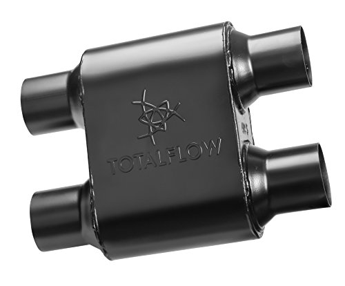 Chamber Muffler (TOTALFLOW 442515-4 Premium Quality Single Chamber Universal Race Muffler - 2.50 inch Dual IN/2.50 inch Dual OUT (409 Stainless Steel/Black))