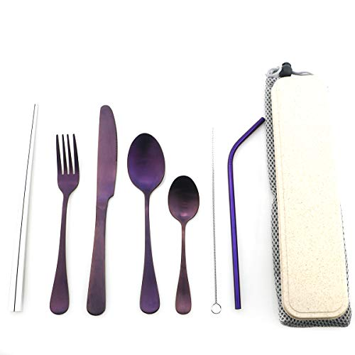 Purple Reusable Utensils with Case Camping Travel Silverware Set,Portable Stainless Steel Cutlery Set - Matte Flatware Set Knife Fork Spoon Mirror Straws Chopsticks -for Office Lunch, Hiking, School