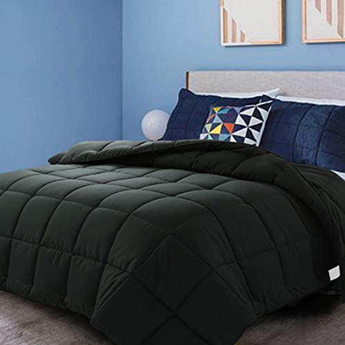 CottonHouse Queen Size(88x88) All Season Comforter Breathable Hypoallergenic Reversible Quilted Darkgrey Duvet Insert Down Alternative Fill with Corner tabs,Machine Washable