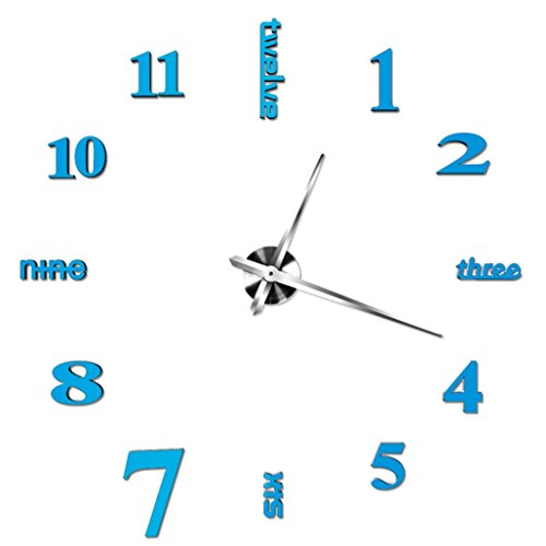 Acrylic Modern DIY Wall Clock 3D Mirror Surface Sticker Home Office Decor (Sky -