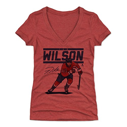 500 LEVEL Tom Wilson Women's V-Neck Shirt (Large, Tri Red) - Washington Capitals Shirt for Women - Tom Wilson Score B