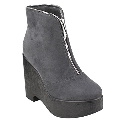 Booties Platform Ankle EJ30 Half Size Women's and One Grey Zipper Small Wedge BESTON WwqY6na1a