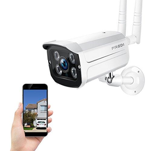 FREDI Wireless Security Camera,720p WiFi Wireless IP Bullet Camera(Weatherproof)
