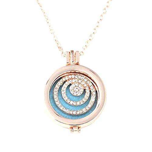 Noopvan Necklace Vintage Locket Essential Oil Diffuser Necklace Pad Fragrance (E) ()