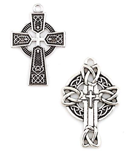 (Celtic Cross Charms, 20 pc (10 of Each) Antiqued Silver Tone Pendants, 1 1/2 Inch Long (Set 2))