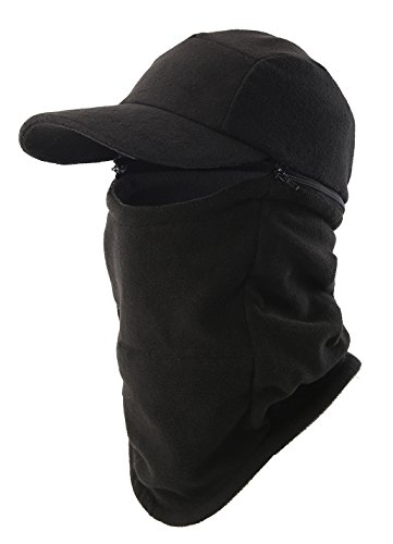 ter Hat with Visor Balaclava Fleece Hood Windproof Skull Cap Face Mask Scarf Neck Gaiter Black (Fleece Lightweight Cap)