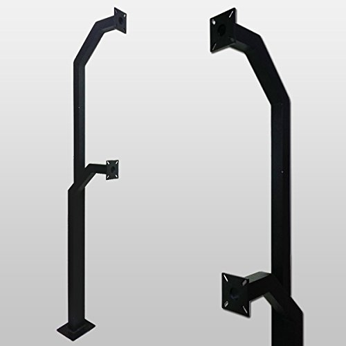 Gooseneck Stand Keypad Pedestal Pad Mount Aluminum mounting post gate entry Double Height (Color Black) (Stand Double Post)