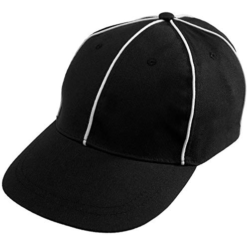 Crown Sporting Goods Official Referee Hat – Adjustable Black with White Stripes Ball Cap – Great for Football Refs, Umpires, Judges, Linesman Uniforms ()
