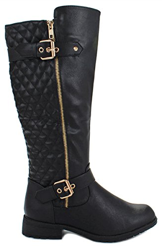 Forever Mango-21 Women's Winkle Back Shaft Side Zip Knee High Flat Riding Boots (6, (Black And Gold Boots)