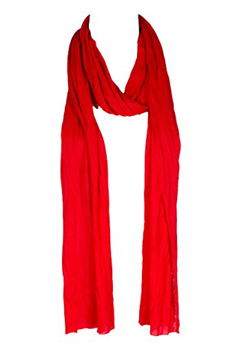 "Plain solid Color Scarf, more than 40 colors, 76"" long, 14"" wide (#54 Christmas Red)"