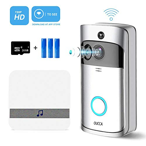 OUCCA Video Doorbell, WiFi Smart Wireless Doorbell, 720P HD Security Home Camera Real-Time Video and Two-Way Talk with Phone Apps, Night Vision, PIR Motion Detection (Included Battery&SD Card)