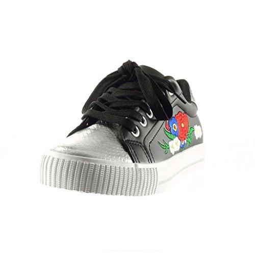 Angkorly Fiori Sneaker Di Pelle Nero 5 Scarpe Cm Piatto Tacco Moda Donna 2 Argento Serpente Ricamo rIqx1rwCp