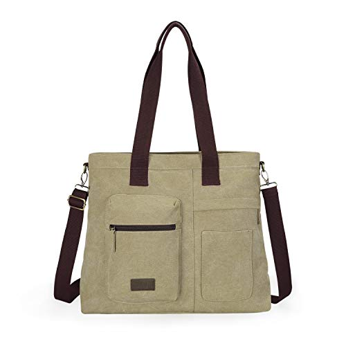 - IDAILU Large Canvas Tote Bag Casual Daily Cross-body Hobo Handbags with Detachable Shoulder Strap (Khaki)