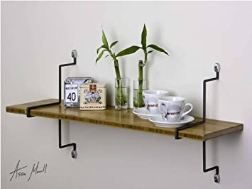 assa design decorative shelf kit one wall mount bamboo shelf with vertical mounting brackets - Decorative Shelf
