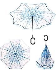 Guarda Chuva Invertido Sombrinha Transparente ao Contrário Azul