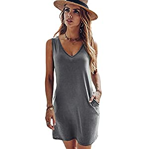 95% Polyester, 5% Spandex Material: High stretchy, soft and comfortable Design: Double side pocket, v neck, v cut back, solid color, regular fit tank dress for women