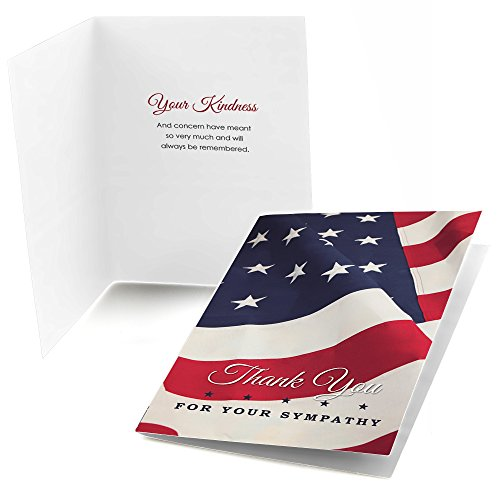 American Flag - Sympathy Thank You Note Cards (24 count)