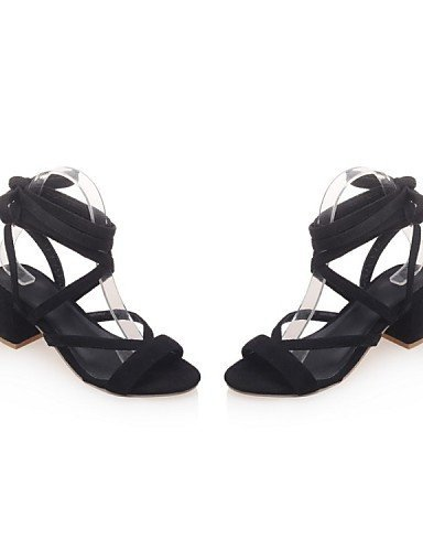 ShangYi Heels Gray Shoes Heel Chunky gray Casual Women's Black Novelty Sandals Fabric Yellow Dress rfXSqr7