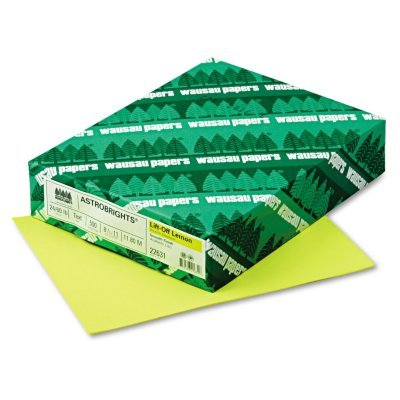 """Astrobrights Color Paper, 8.5"""" x 11"""", 24 lb/89 gsm, Lift-Off Lemon, 500 Sheets (21011) by Neenah"""