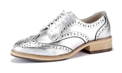 U-lite Women Mirror-Shine Leather Lace-up Perforated Wingtip Rope and Rubber Platform Oxford Shoes Silver 5