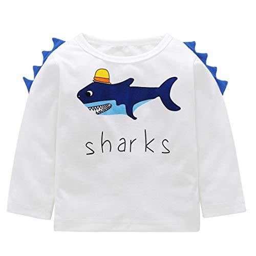 Toddler Boys Long Sleeve T-Shirt Soft Tee Cotton Tshirt Crew Neck Shirt Shark Grafit 3-4Y ()