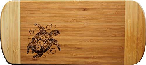 Doodle Gifts Two-Tone Bamboo Cutting Board, Sea Turtle, 6 x 13