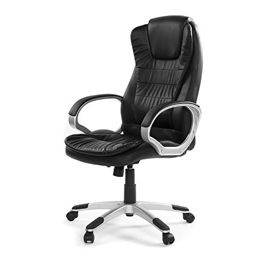 Green Forest GreenForest Office Swivel Chair High-Back Home Computer Task Chair Adjustable PU Leather Executive Desk Chair with Headrest, Black by Green Forest