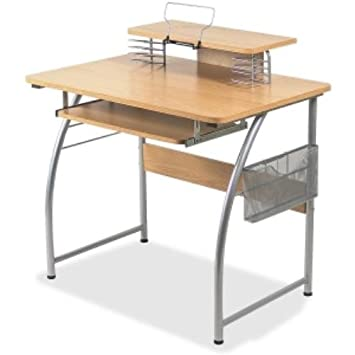 Lorell Upper Shelf Laminate Computer Desk, Metallic