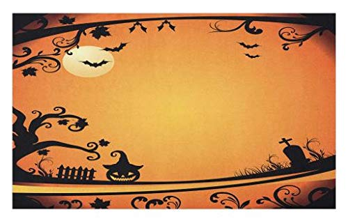 Lunarable Vintage Halloween Doormat, Halloween Themed Image Eerie Atmosphere Gravestone Evil Pumpkin Moon, Decorative Polyester Floor Mat with Non-Skid Backing, 30 W X 18 L Inches, Orange Black ()