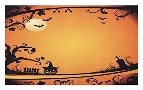 Lunarable Vintage Halloween Doormat, Halloween Themed Image Eerie