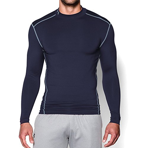 Navy Under Armour (Under Armour Men's ColdGear Armour Compression Mock, Midnight Navy/Steel, Large)