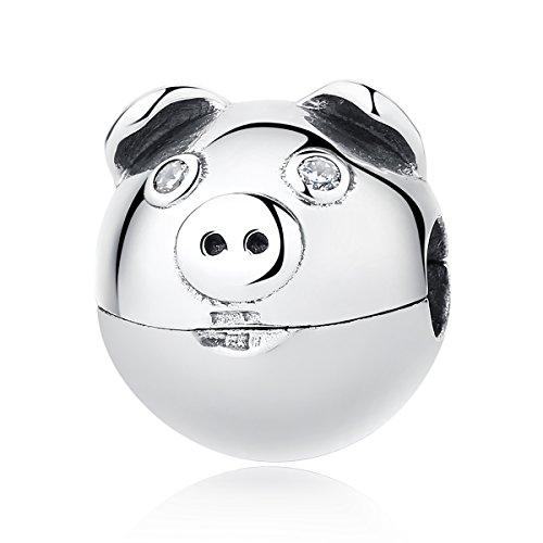 Everbling Crazy Pig Heart of Love Clip 925 Sterling Silver Bead Fits Pandora Charm Bracelet (Piggy Clip)