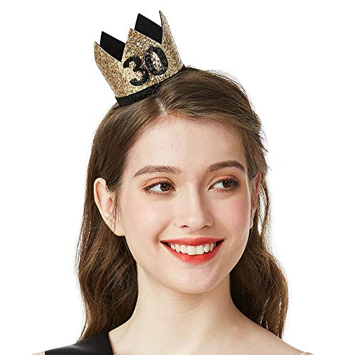 Gold Glitter 30 Birthday Crown - 30th Birthday Party Hat Birthday Party Favors