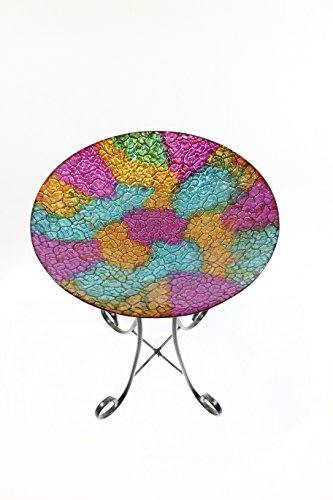 "Alpine GRS660A-16 Mosaic Glass Birdbath, 16"", Pink"