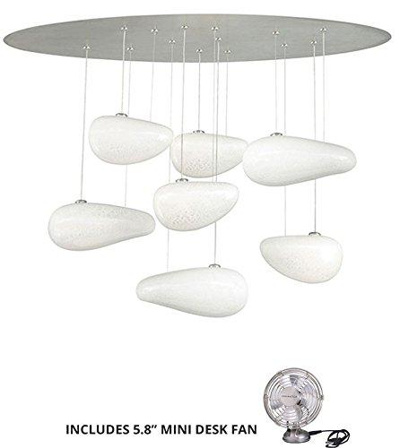 LBL HS51307OPSC26, Constellation Low Volt Glass Pendant, 7LT, 105watt Halogen, Nickel (Includes Mini Desk Fan)