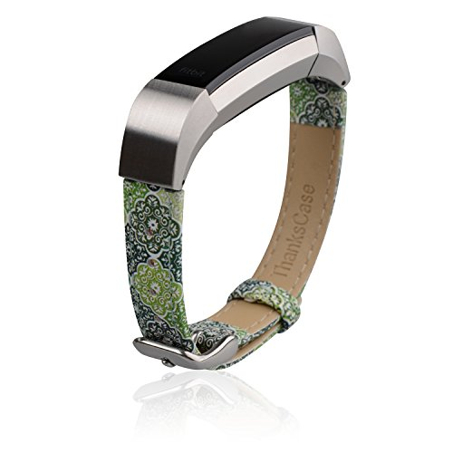 Thankscase for Fitbit Alta HR and Alta Bands, Genuine Leather Wrist Strap Replacement Spring Bar and Embossed Pattern for Fitbit Alta HR and Fitbit Alta. (Morrious 1)