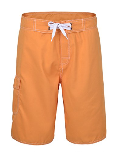 NONWE Men's Solid Lightweight Surf Trunks with Lining orange 32