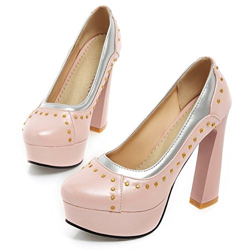 Pumps Heel Pink Heel Women's Platform Block Rivet High Shoes LongFengMa B4tCE