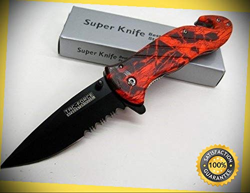 Red Camo Assisted Serrated Rescue Glassbreaker Belt Cutter Sharp Knife Combat Tactical Knife by KARPP
