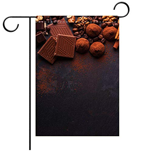 BEICICI Custom Personalized Garden Flag Outdoor Flag Variety of Sweet Homemade Chocolate pralines on Wooden Background Best for Party Yard and Home Outdoor Decor