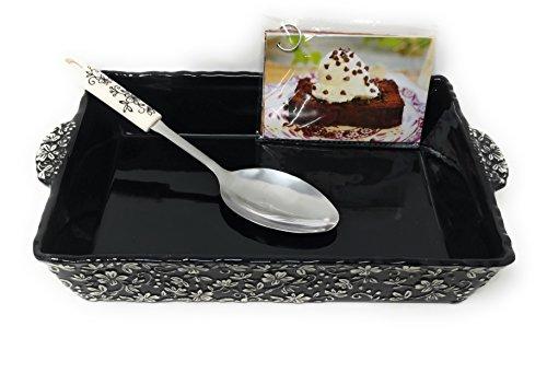 Temp-tations Embossed 4 Qt Baker, Casserole Dish (13x9), w/Server & Recipe Cards (Floral Lace Black)