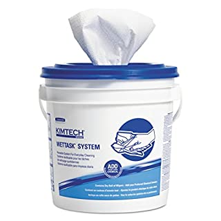 Kimtech 06411 WetTask System-Bleach/Disinfectant/Sanitizer w/Bucket,12X12.5, 90 per Roll (Case of 6 Rolls)