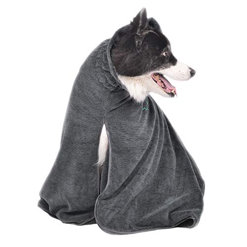 Winthome Dog Bathrobe - Quick Drying Microfiber Bathrobe for Dog Cat Pet -Dog Pet Bath Towel - Absorption Bath Towels - Keeps Your Dog, Home and Car Clean & Dry Super Absorbent (M, Gray)]()
