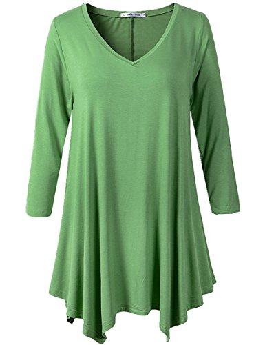 JollieLovin Womens Plus Size 3/4 Sleeve Loose-fit T Shirt for Leggings Tunic Top (L, C Green)