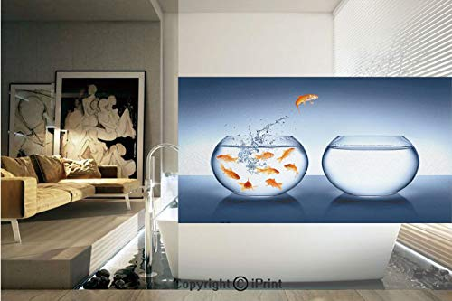 Decorative Privacy Window Film/Little Brave Goldfish Jumping One Fishbowl to Another Courage Improvement Decorative/No-Glue Self Static Cling for Home Bedroom Bathroom Kitchen Office Decor Dark Blue O (Concord Glass Bowls)